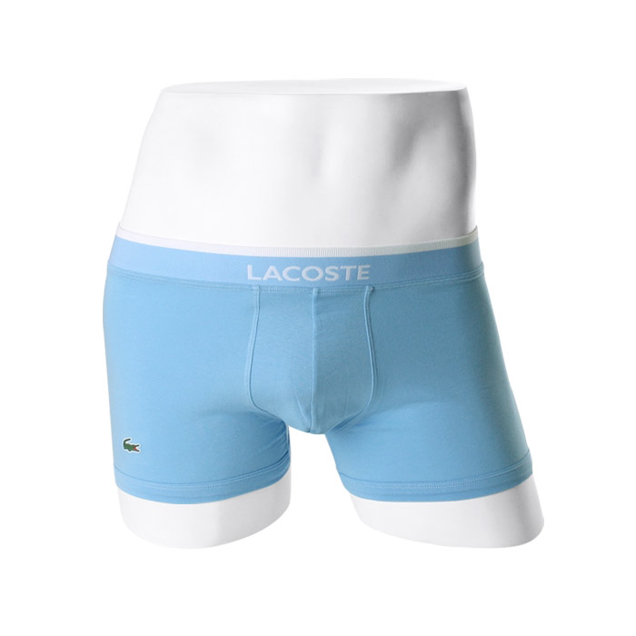 -LACOSTE- 93574 Stretch Cotton Boxer Trunk (Sky)