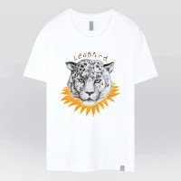 - THE SHIRTS -91288 yellow leopard 반팔 티셔츠 (White)