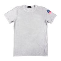 91876 소매 성조기 패치 반팔 라운드 티셔츠 (4Color)