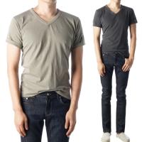 91886 소매 성조기 패치 반팔 브이넥 티셔츠 (8Color)
