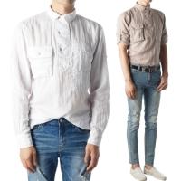 92344 투포켓 카라 헨리넥 린넨 셔츠 (3color)