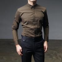 92602 기하학 도형자수 슬림카라 셔츠 (3Color)