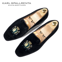 - KARL SPALLRENTA - 92866 방패자수 벨벳 슈즈 (Black)