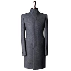 86335 BA 이중지 싱글 하이넥 코트 (Dark Gray)