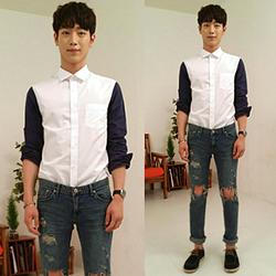 86345 프리미엄 소매배색 셔츠 (White+Blue)
