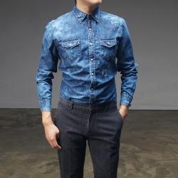 92954 스냅버튼 워싱 데님 셔츠 (Blue)