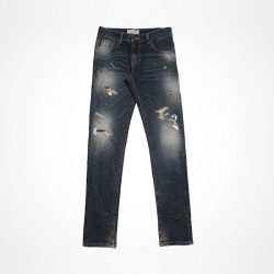 93096 스티치 데미지 워싱 데님 팬츠 (Blue)