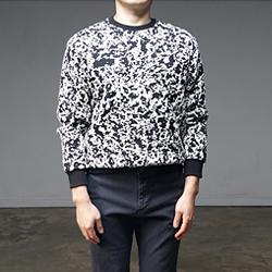 93848 엠보 카무플라주 니트 맨투맨 티셔츠 (3Color)