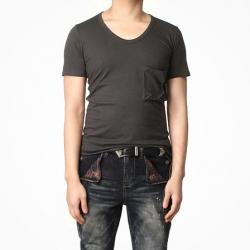 83126 자체제작 고퀄리티 베스트 라인 U넥 티셔츠 (Dark Gray)