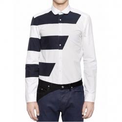 94618 사선 단가라 배색 셔츠 (White)