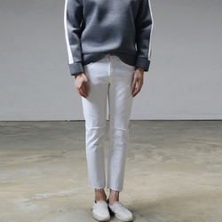 94828 일자컷팅 디스트로이드 팬츠 (White)
