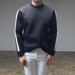 94830 소매 배색 네오프렌 맨투맨 티셔츠 (2Color)