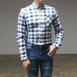 94948 차이나 카라 블록 체크 셔츠 (2Color)