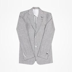 95012 브리든 부토니에 타이니 체크 린넨 싱글 자켓 (Gray)