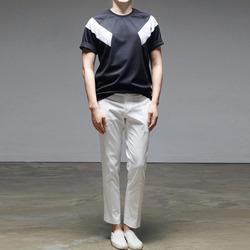 95092 TI 숄더배색 라인 하프슬리브 티셔츠 (3Color)