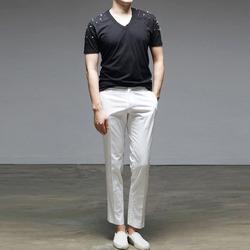 95113 스터드 하프슬리브 V넥 티셔츠 (2Color)