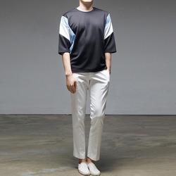95186 라인절개 배색 하프슬리브 티셔츠 (2Color)