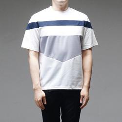 95303 미니멀 V배색 하프슬리브 티셔츠 (2Color)