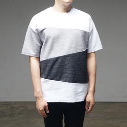 95304 보카시 사선단가라 하프슬리브 티셔츠 (2Color)