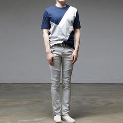 95423 NE 절개 배색 하프슬리브 티셔츠 (2Color)