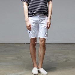 95562 페인팅 디스트로이드 컷팅 하프 팬츠 (White)