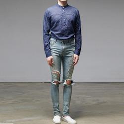 95599 마드라스 체크 린넨 헨리넥 셔츠 (3Color)
