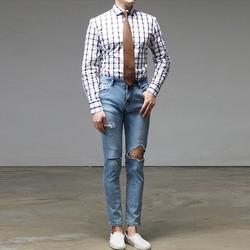 95666 프리미엄 오버체크 셔츠 (White)
