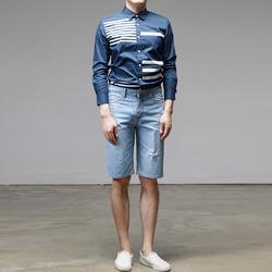 95724 믹스라인 나염 셔츠 (2Color)