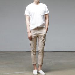 95751 JU 포켓 히든 레터링 하프슬리브 티셔츠 (3Color)