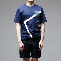95850 SO 기하학 앵글 패치 나염 하프슬리브 티셔츠 (2Color)