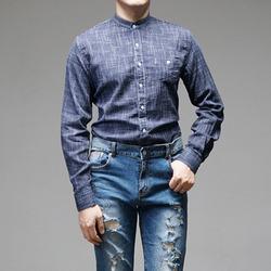 95894 스몰 깅엄체크 차이나카라 셔츠 (Navy)