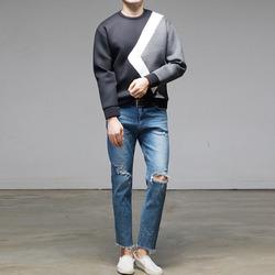 95925 기하학 모던배색 네오프렌 라운드 티셔츠 (2Color)