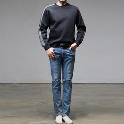 96100 트리플 배색 등지퍼 네오프렌 티셔츠 (2Color)