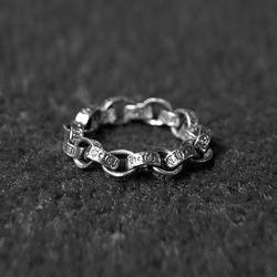 96859 크로스 체인 반지 (Silver)
